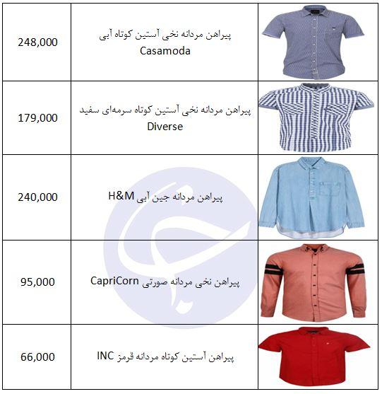 قیمت پیراهن مردانه در طرحهای مختلف + جدول