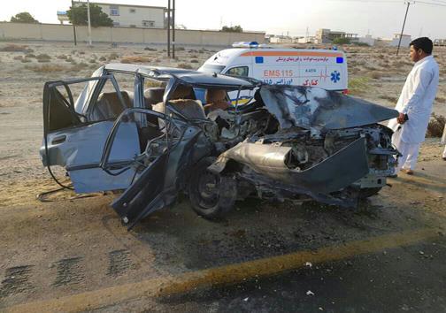 3 کشته و مجروح در تصادف شدید دو خودرو پراید محور جنوب سیستان و بلوچستان+ عکس