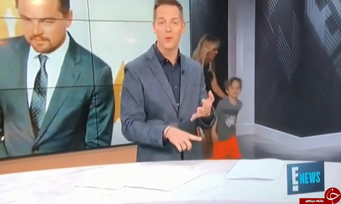 حرکت غیرمنتظره پسر خانم مجری در برنامه زنده+تصاویر