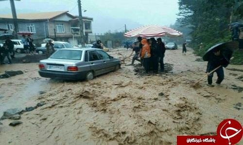 بارش شدید باران و احتمال وقوع سیل در گیلان+ تصاویر