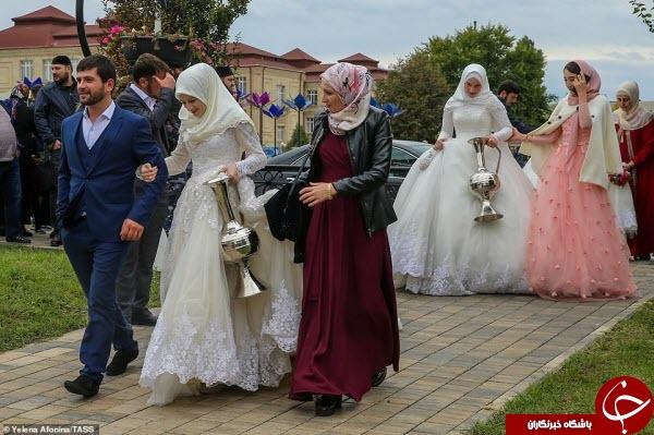 ازدواج دستهجمعی ۲۰۰ زوج چچنی در دویستمین سالگرد تاسیس پایتخت این کشور+عکس
