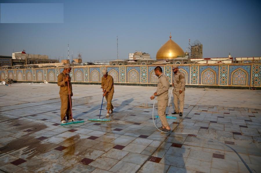 استقرار موکبهای ایرانی در ۵۵ نقطه از شهر نجف/ آمادگی صحن حضرت زهرا(س) برای پذیرایی از زائران اربعین + عکس