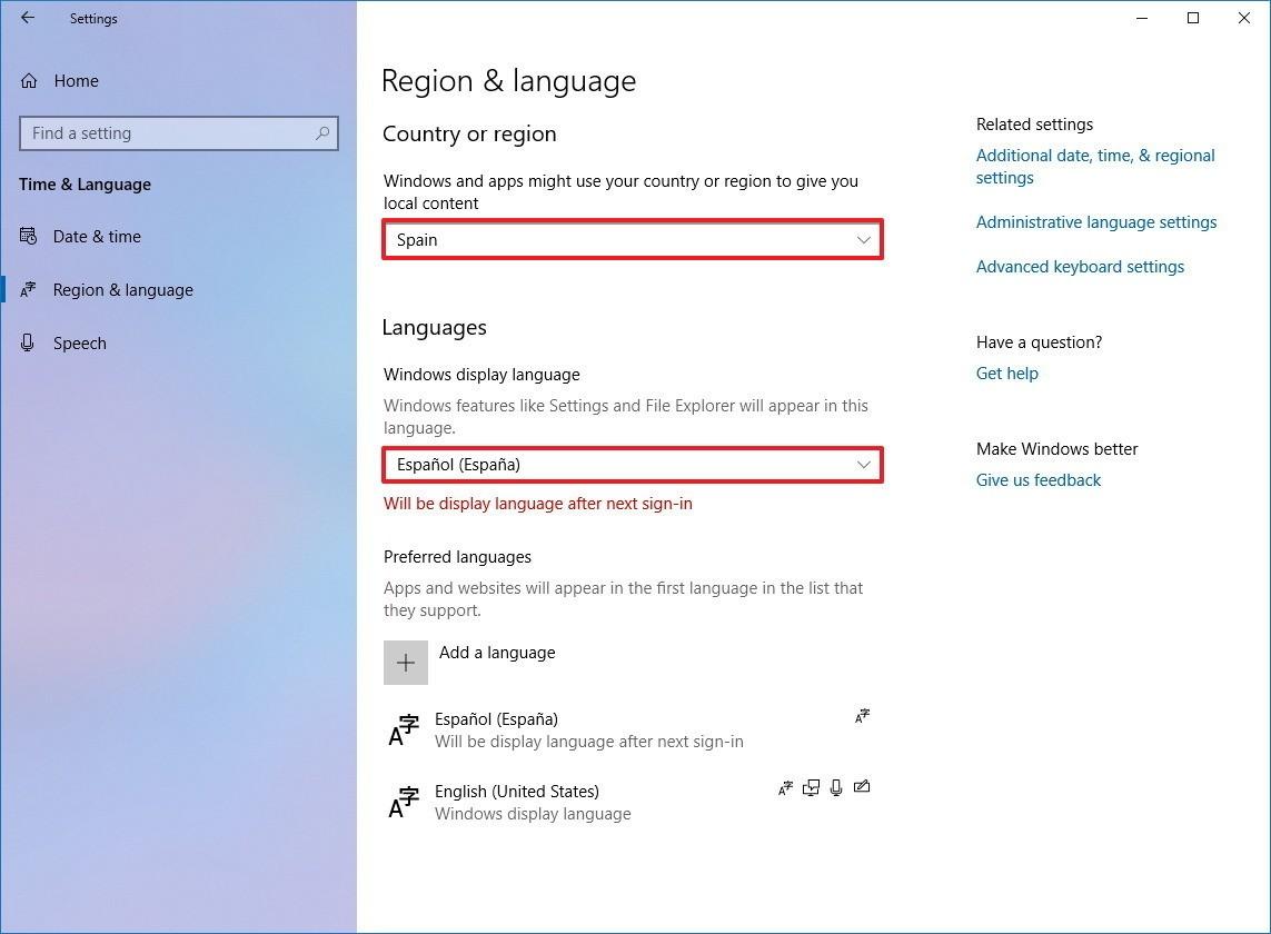 .تغییر زبان در ویندوز 10