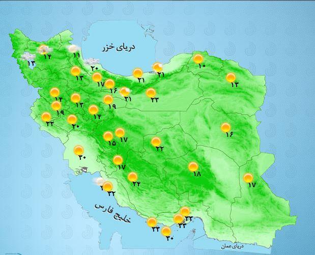 کاهش ۴ درجهای دما در نوار شمالی کشور/ارتفاعات البرز شاهد بارش برف خواهد بود+جدول