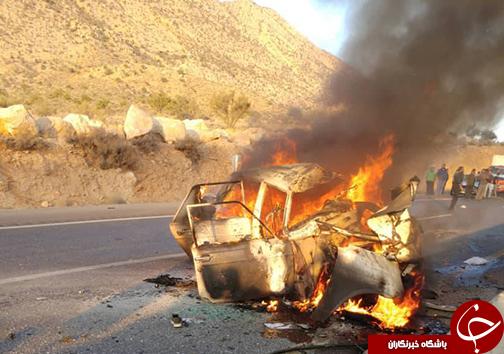 ۳ کشته و زخمی در تصادف ۲ دستگاه خودرو سواری/خودروها در آتش سوختند