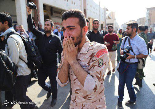 وداع باشکوه با پیکرهای پاک شهدای حادثه تروریستی در اهواز + تصاویر