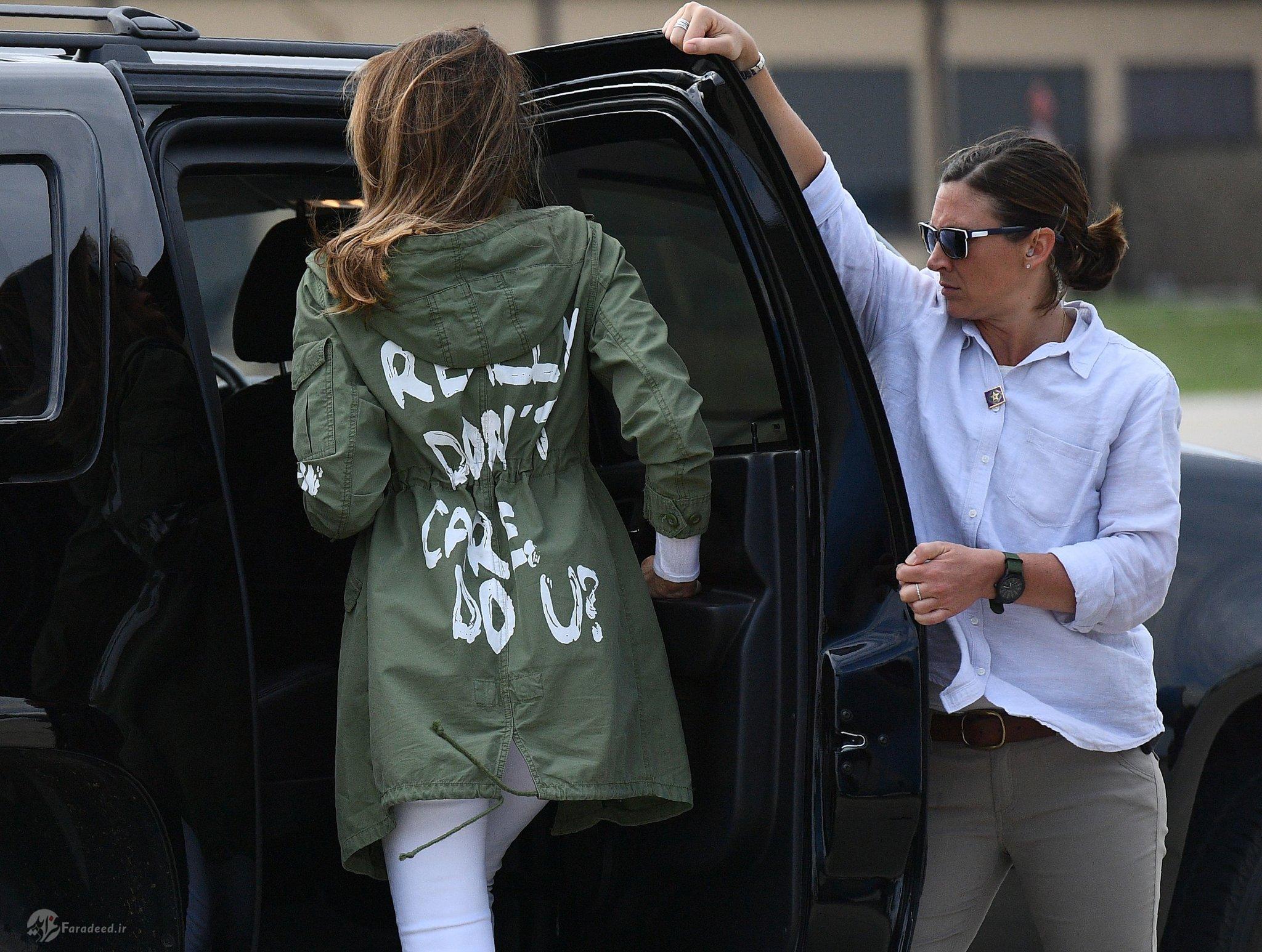 مخاطب جملهای عجیبی که روی کت همسر ترامپ نوشته شده بود، چه کسی بود؟+ تصاویر
