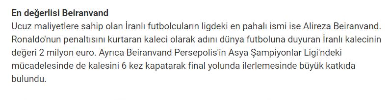 با ارزش ترین بازیکن ایران مشخص شد