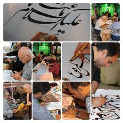 کتابت بیش از 50 اثر خوشنویسی در کنار نیم ضریح حضرت زینب کبری