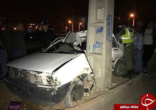 برخورد مرگبار خودرو پراید با ستون برق + تصاویر