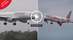 لحظه دلهره آور فرود دو هواپیما حین وقوع طوفان! +فیلم