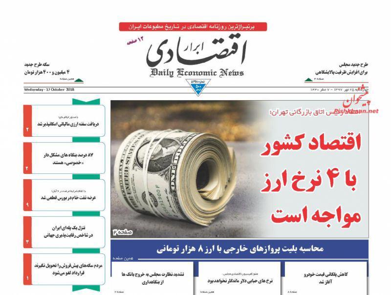 صفحه نخست روزنامه های اقتصادی 25 مهرماه