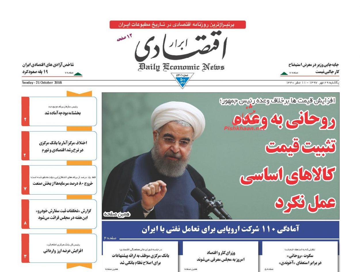 صفحه نخست روزنامه های اقتصادی 29 مهرماه