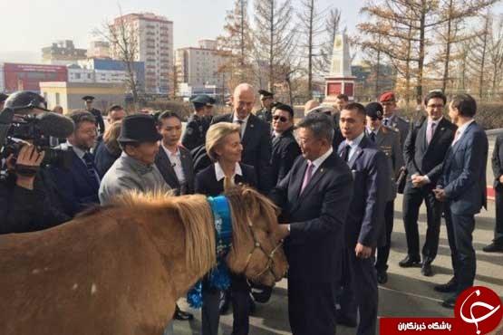 وزیر دفاع آلمان اسب مغولی هدیه گرفت +عکس