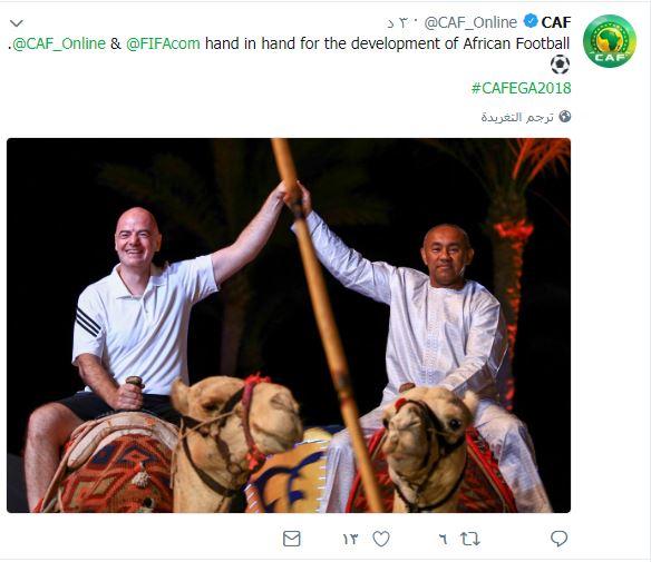 رئیس فیفا در حال شترسواری!+عکس