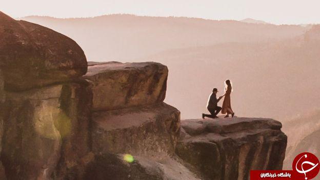 عکسی جالب از لحظه پیشنهاد ازدواج مرد جوان به نامزدش! + تصاویر//