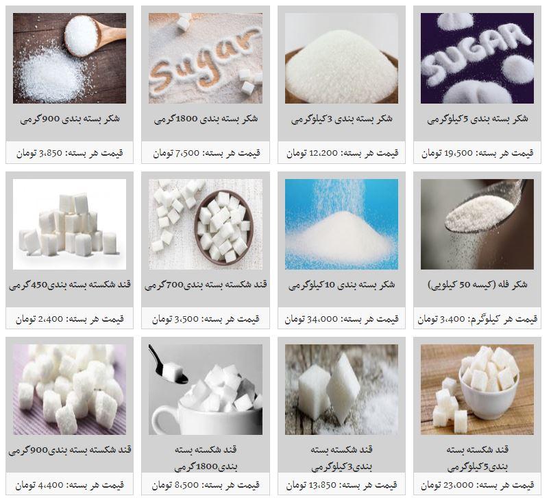 نرخ مصوب قند و شکر بسته بندی در بازار