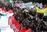 فریاد مرگ بر استکبار در آسمان پایتخت وحدت (سیستان و بلوچستان) طنین انداز شد/دلارهای آمریکا زیر پای راهپیمایان