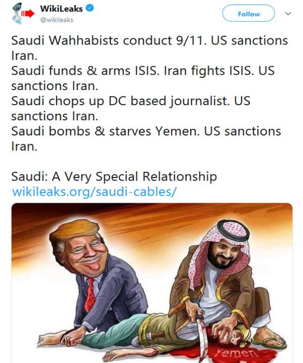 عربستان سعودی به یمن حمله میکند اما آمریکا ایران را تحریم میکند. +تصویر