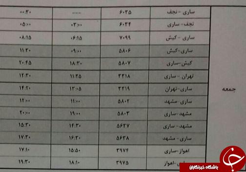 پروازهای جمعه ۱۸ آبان ماه فرودگاههای مازندران