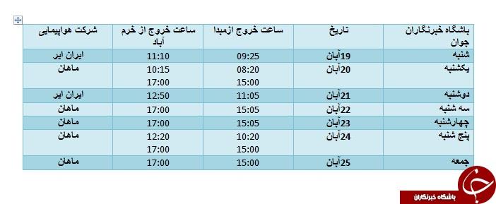 برنامه پروازهای فرودگاه خرمآباد از ۱۹ تا ۲۵ آبان ماه