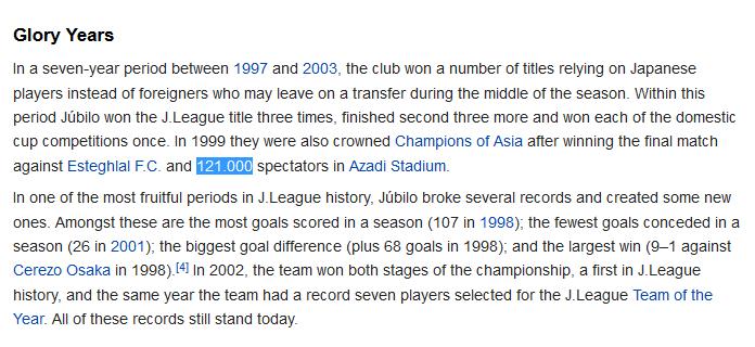 رکورد بیشترین تعداد تماشاگر بازی های باشگاهی  آسیا همچنان در اختیار استقلال-جوبیلو ایواتا