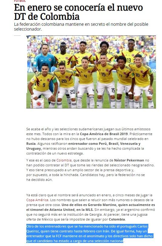 کی روش بازهم جز گزینه های تیم ملی فوتبال کلمبیا/ ژانویه مربی جدید معرفی می شود
