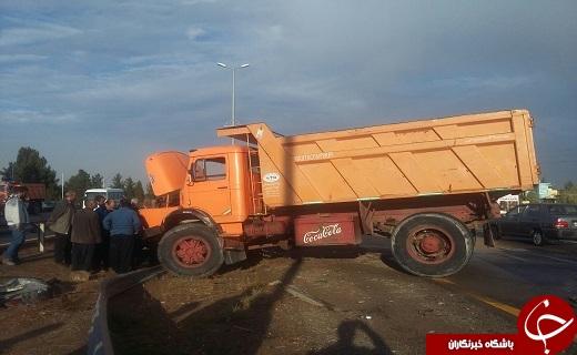 برخورد مرگبار پژو با کامیون در بلوار الغدیر قم