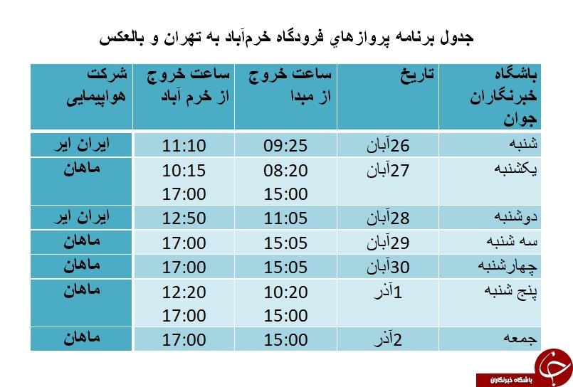 برنامه پروازهای فرودگاه خرمآباد از ۲۶ آبان ماه تا ۲ آذرماه