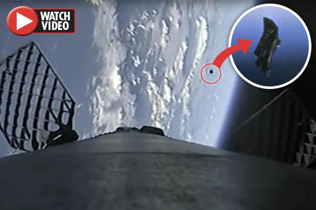 عبور ماهواره جاسوسی فرازمینی ها از کنار راکت فالکن 9! + فیلم//