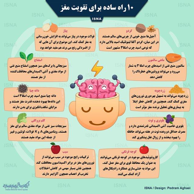 ۱۰ راه ساده برای تقویت مغز+اینفوگرافیک
