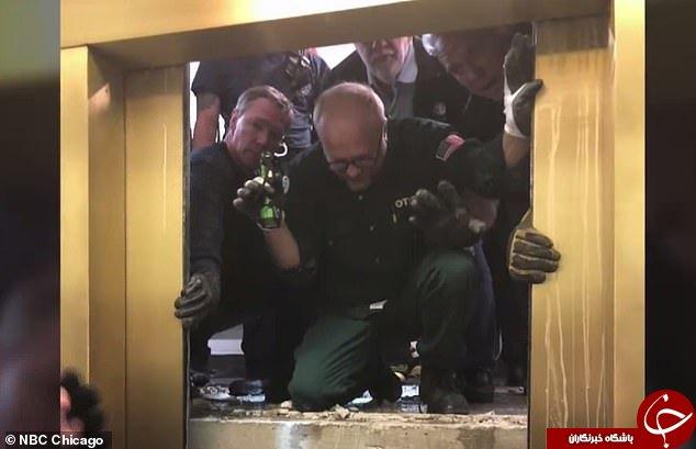سقوط آسانسور با مسافر در یک آسمان خراش +فیلم