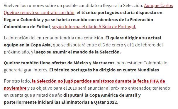 کارنامه کاری کی روش مد نظر فدراسیون فوتبال کلمبیا قرار گرفت