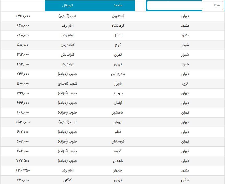 لیست روزانه قیمت بلیت اتوبوس + قیمت