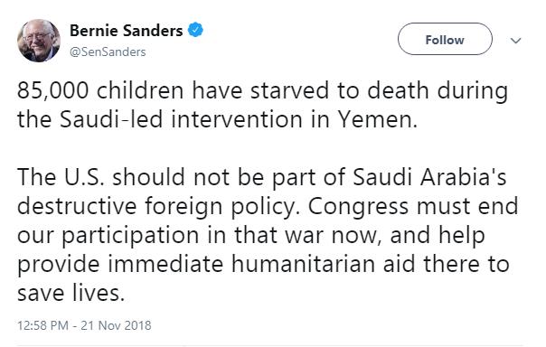 سناتور سندرز: آمریکا نباید بخشی از سیاست مخرب عربستان باشد