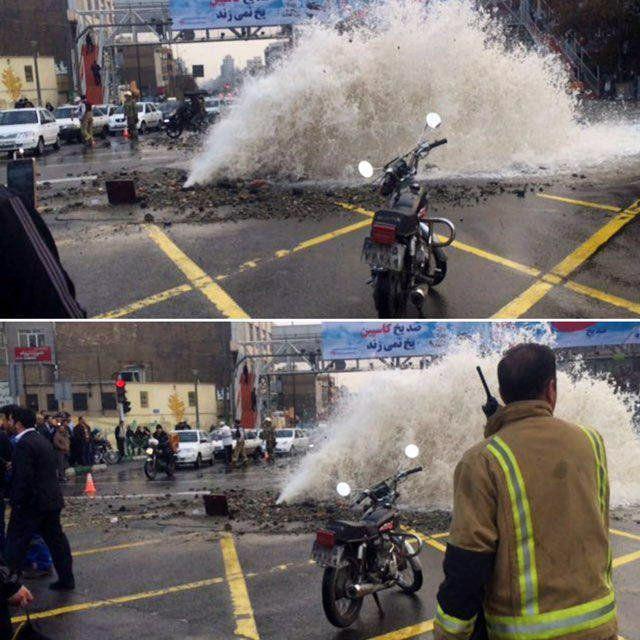 لوله اصلی آب شهر تهران ترکید + عکس