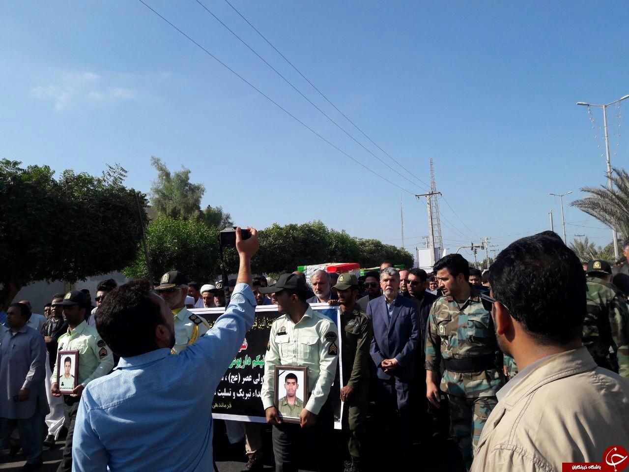 پیکر شهدای حادثه تروریستی چابهار تشییع شد +تصاویر
