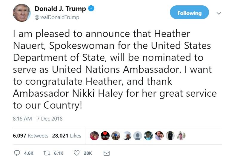 ترامپ: نائورت را به عنوان سفیر جدید آمریکا در سازمان ملل معرفی میکنم
