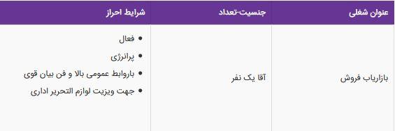 استخدام بازاریاب فروش در شرکت مهندسی پیلاوران در تهران