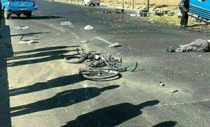 مرگ دوچرخهسوار بر اثر برخورد با وانت نیسان