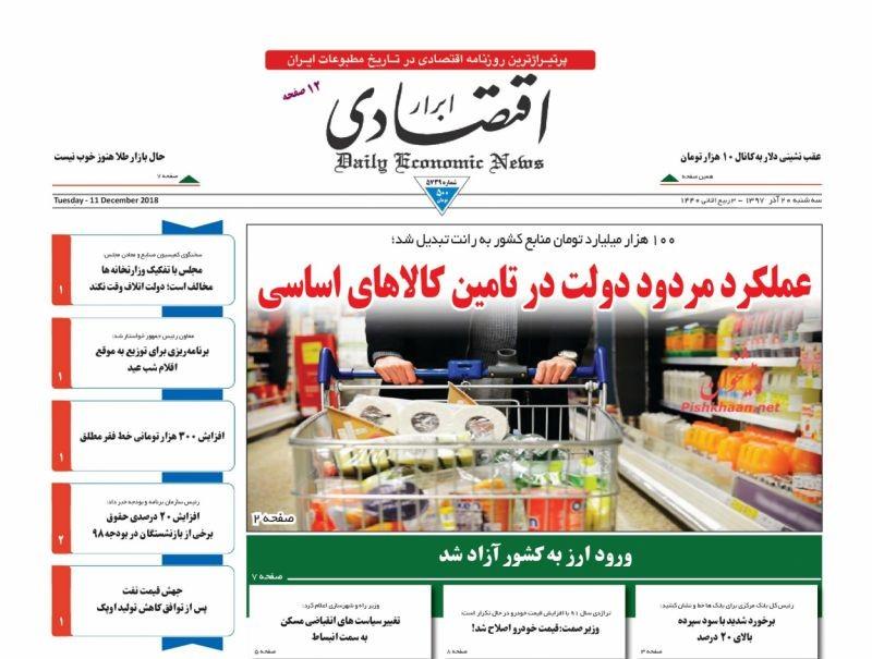 صفحه نخست روزنامههای اقتصادی ۲۰ آذر ماه