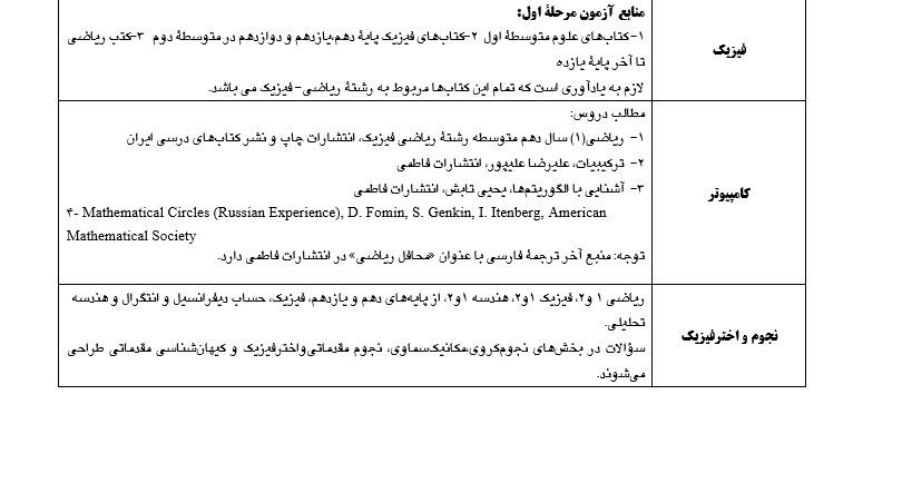 منابع آزمونهای المپیادهای علمی سال تحصیلی ۹۸-۹۷ اعلام شد+ فهرست