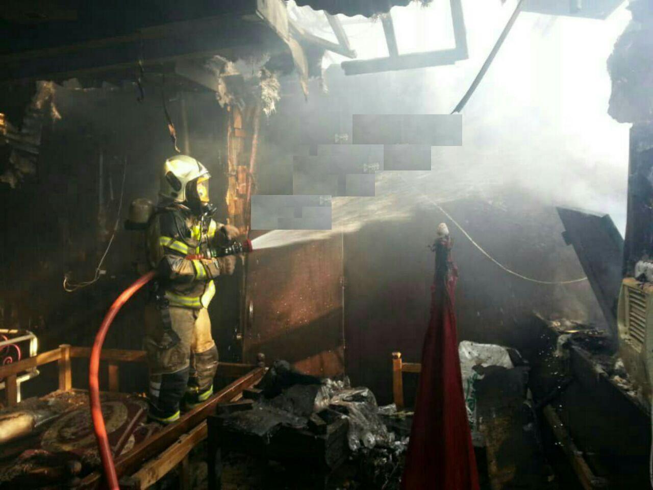 آتش سوزی غذاخوری یک باغ رستوران در فرحزاد