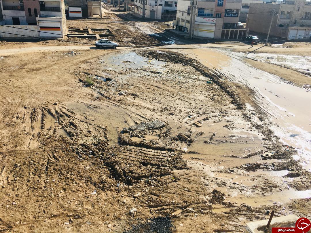 وضعیت خیابانهای کوی مهدیس بعد از بارندگی + تصاویر