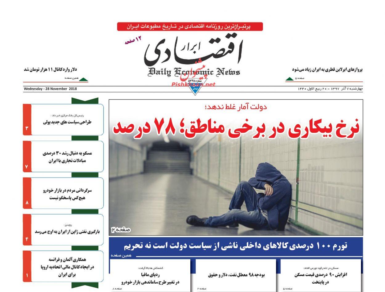صفحه نخست روزنامه های اقتصادی 7 آذر ماه