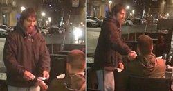 مشتری رستوران و مرد بی خانمانی که تحسین کاربران را برانگیختند + فیلم