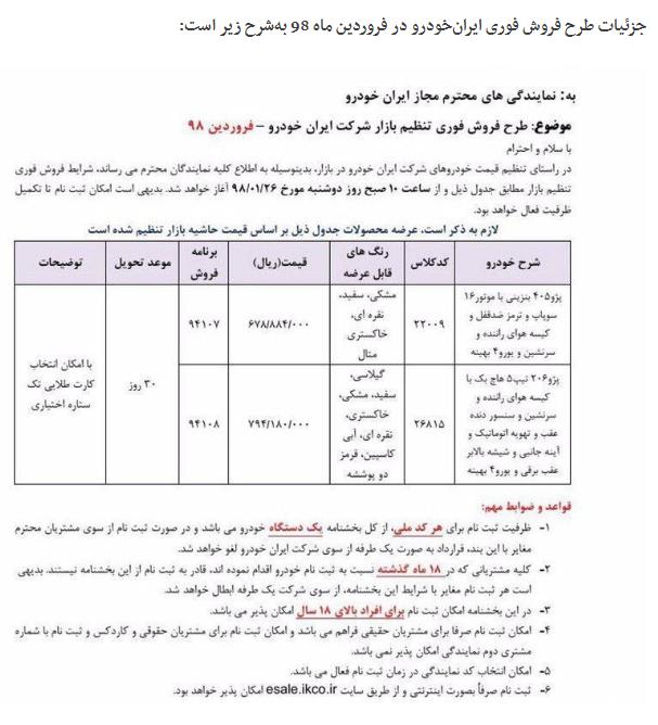 جزئیات طرح فروش فوری فروردین ماه 98 ایرانخودرو اعلام شد + جدول