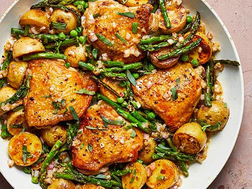 ساق مرغ با سبزیجات بهاری