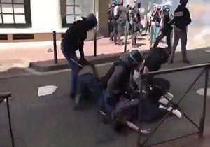 ضرب و شتم خبرنگاران حین پوشش تظاهرات جلیقه زردهاتوسط پلیس + فیلم