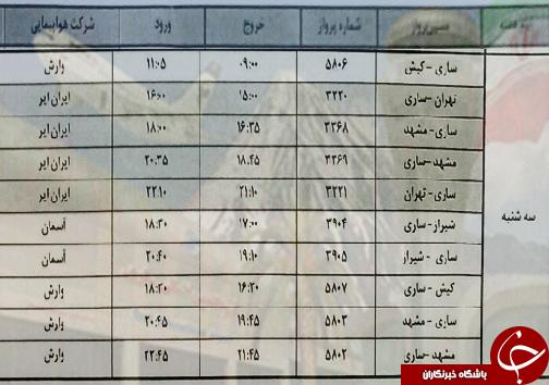 پروازهای سه شنبه ۲۷ فروردین ماه فرودگاههای مازندران